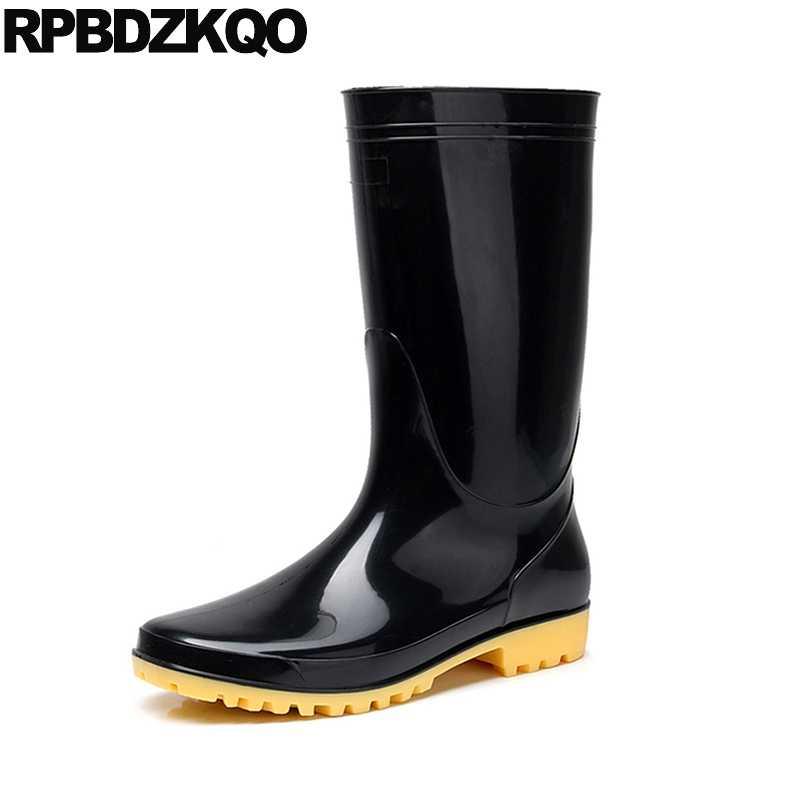 7dc40fc8e7ad Rubber Fishing Boots Men Black Chunky Rainboots Tall Rain Durable Plus Size Yellow  Pvc Cheap Slip