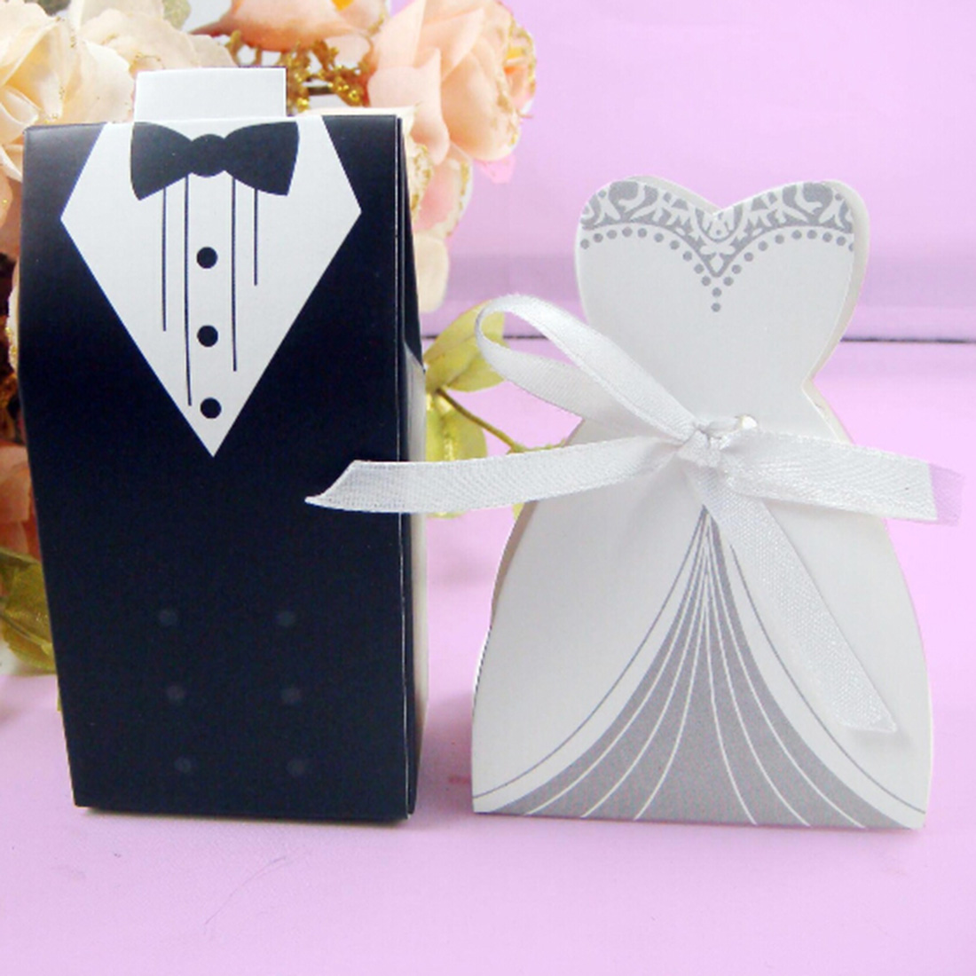 Aliexpress Decoration Mariage Hot Sale 10pcs Candy Box Bridal Gift Cases Groom Tuxedo