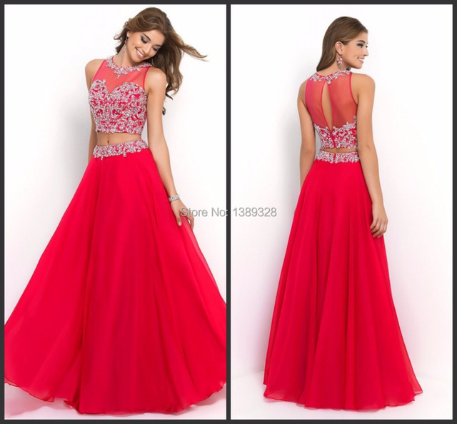 Aliexpress.com : Buy Two Pieces Red Prom Dress Up Gown Separate ...