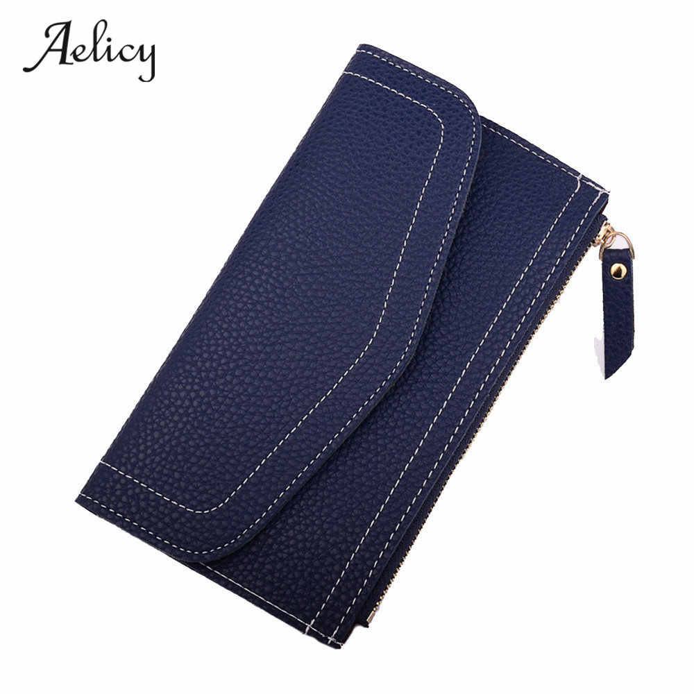 Aelicy גבוהה באיכות נשים אופנה עור ארנק רוכסן מצמד ארנק ליידי ארוך מוצק סטנדרטי ארנקי Carteira Feminina Carteira