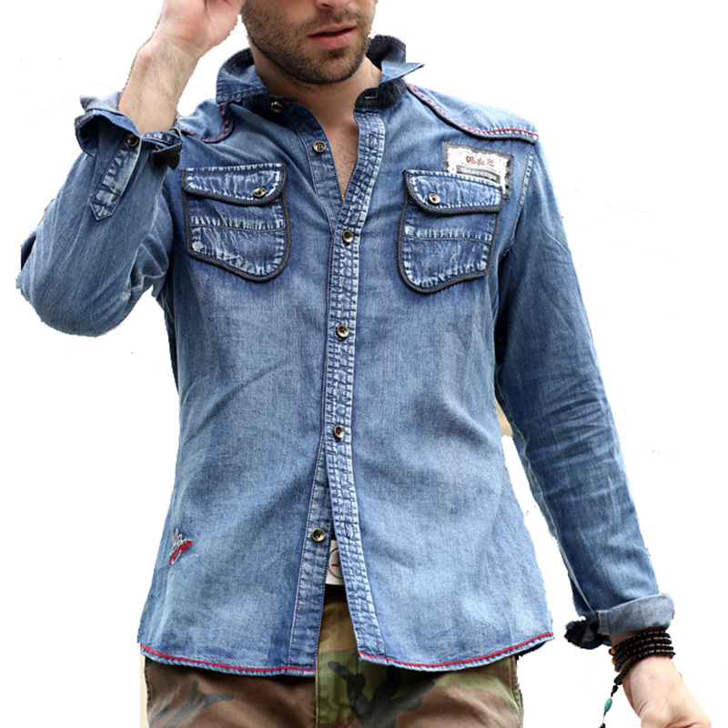 free shipping Spring and autumn water wash army vintage men denim shirt male long-sleeve top loose plus size casual male shirt ...