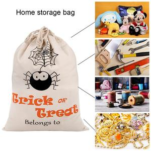 Image 3 - OurWarm 17 x14 inch Halloween Trick or Treat Bags for Kids Reusable Canvas Drawstring Tote Bag Gift Sack Halloween Party Decorat