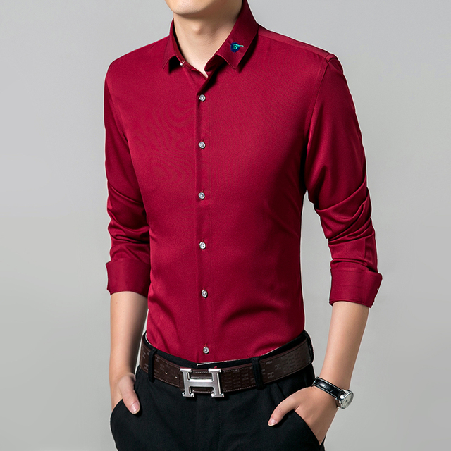 Aliexpress.com : Buy New 2016 Solid Dress Men Shirt Long Sleeve ...