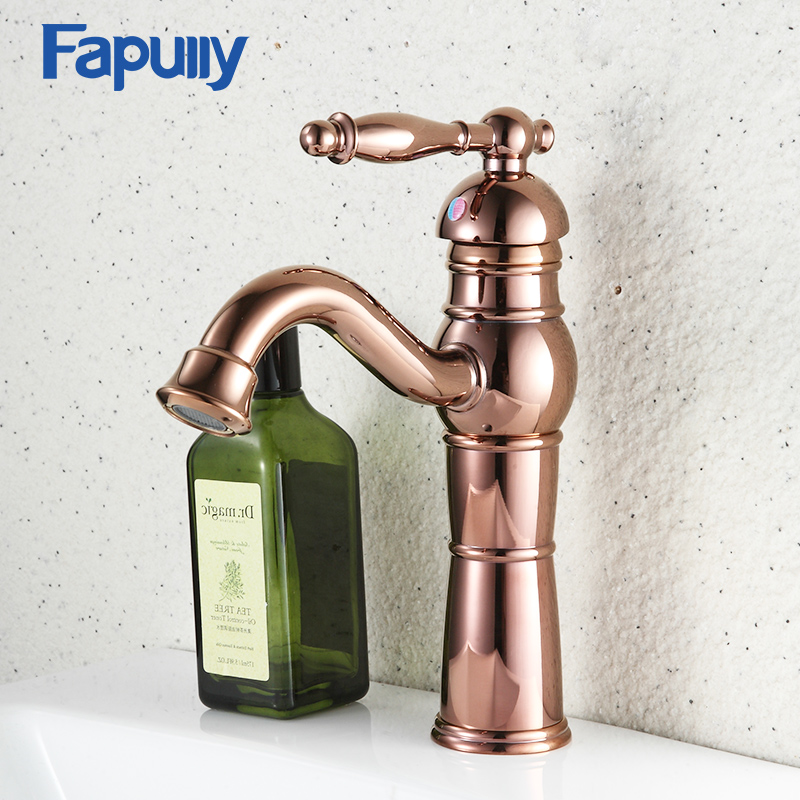 Fapully Bathroom Basin Mixer Deck Mount Golden Bathroom Faucets Single Handle Cold And Hot Water European StyleFapully Bathroom Basin Mixer Deck Mount Golden Bathroom Faucets Single Handle Cold And Hot Water European Style