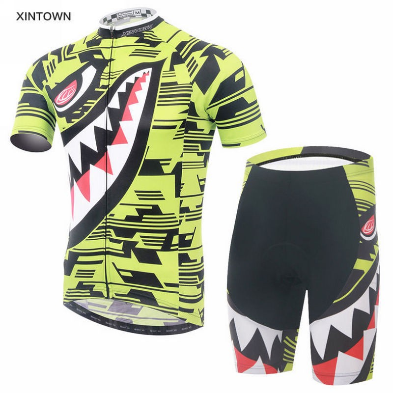 HOT! Bike Yellow XINTOWN Team Cycling Jersey Sleeve shorts Set Men Sports Clothing Bicycle Suits Green Shark 176 hot cycling jerseys magnolia flowers hot cycling jersey 2017s anti pilling female adequate quality sleeve cycling clothing f