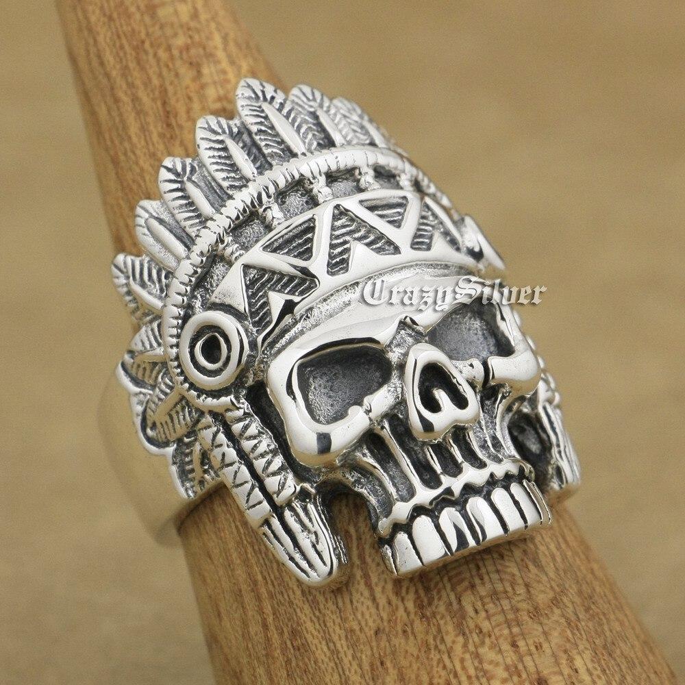 Здесь продается  Indian Chief Skull 925 Sterling Silver Mens Biker Rocker Punk Ring 9W020 US Size 7.5 to 13  Ювелирные изделия и часы