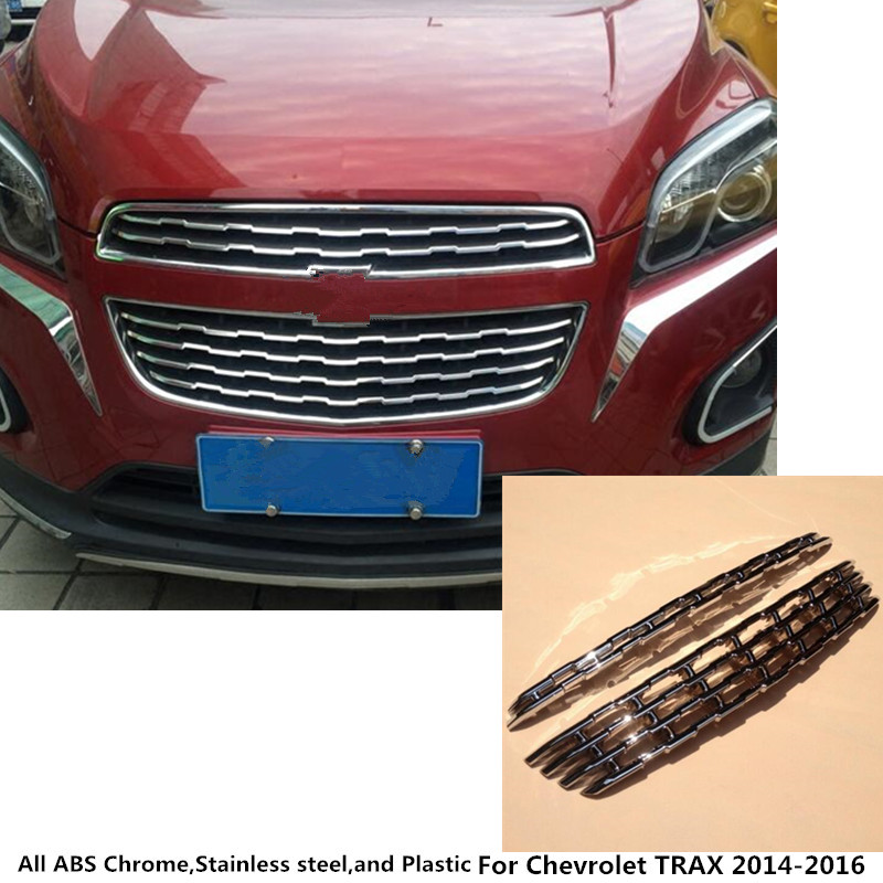 For Chevrolet TRAX 2014 2015 2016 car styling body ABS chrome License plate trim racing Grid Grill Grille hoods panel frame 2pcs car front bumper mesh grille around trim racing grills 2013 2016 for ford ecosport quality stainless steel