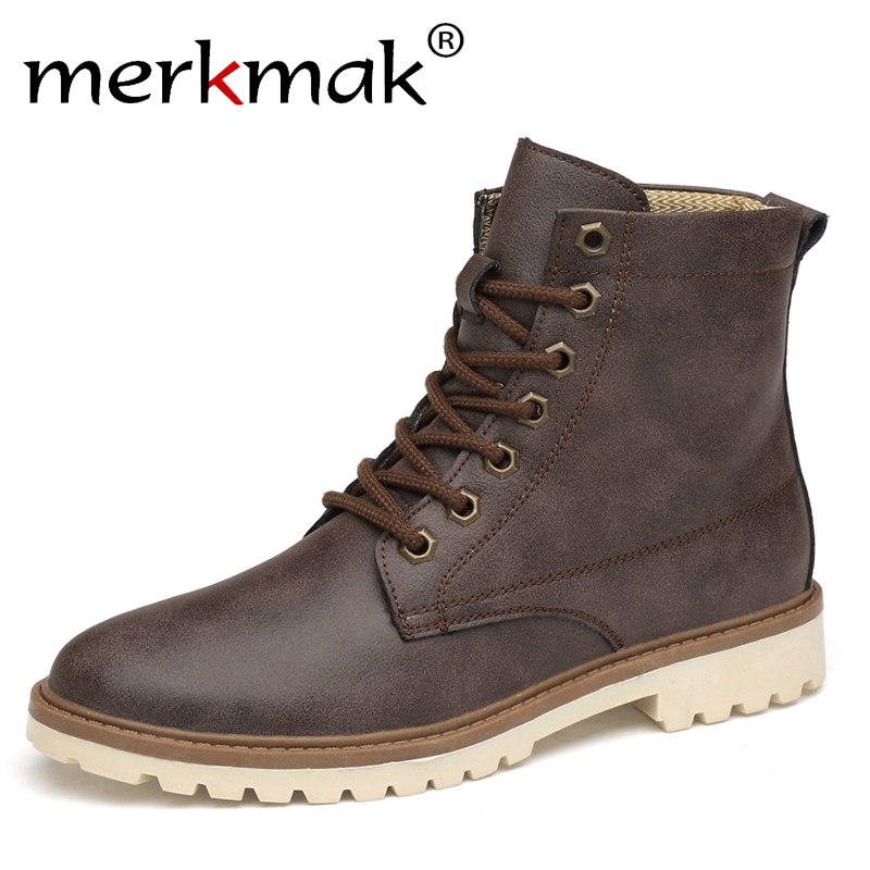 Merkmak Men Boots Genuine Leather Winter Autumn Men Ankle Boots Britain Style Shoes Men Boots Lace Up Shoes Top Quality Boots