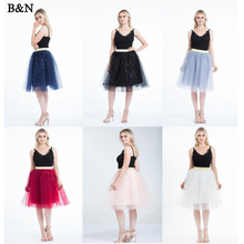 B&N Womens 6 Color Mesh Fabric Tulle Shirt with Gold Star and Moon for Skirt Adult Elastic High Waist Ball Gown Tutu