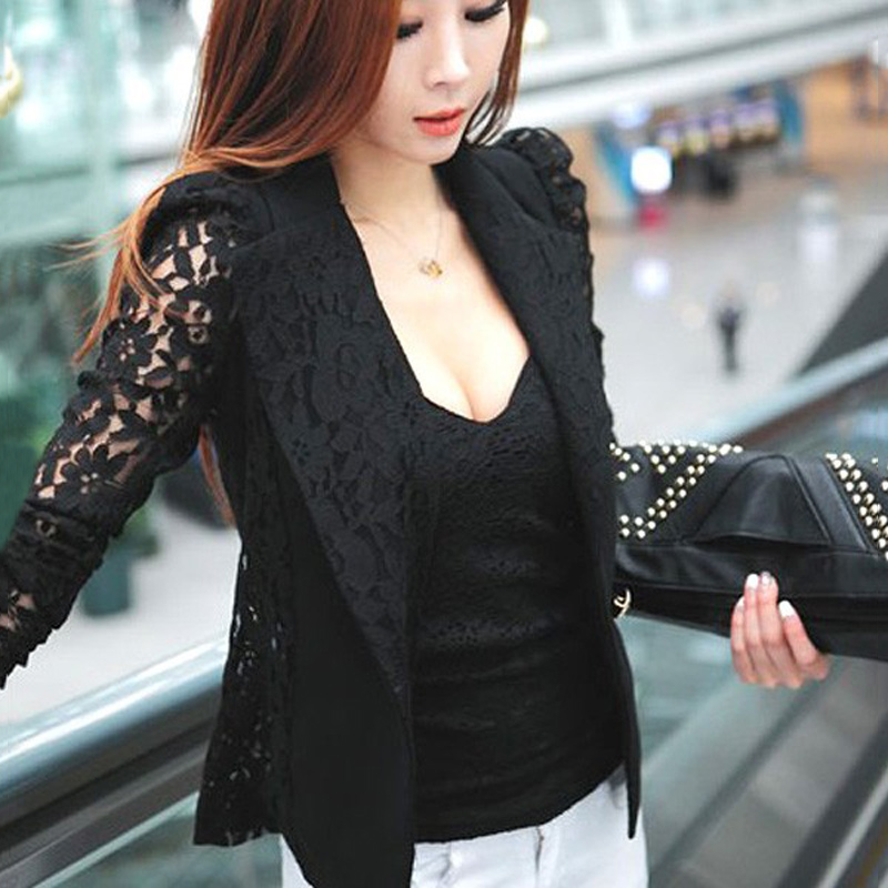 2019 Elegant Plus Size Women Blazer Black White Long Sleeve Hollow Out All Match Female Jacket Lace Patchwork Office Lady Suits(China)