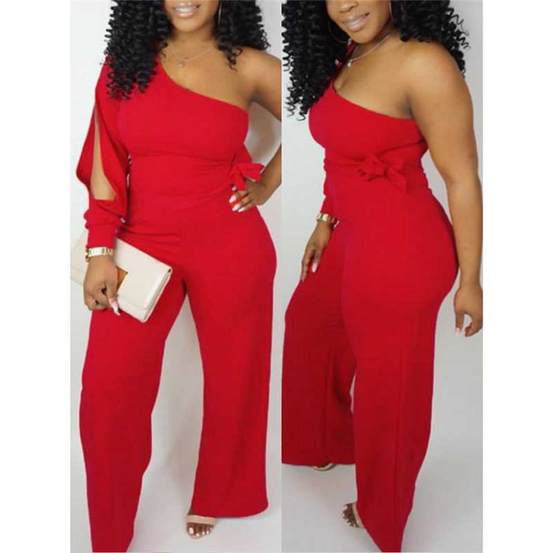 New Fashion Women's One Shoulder Long Sleeve Jumpsuit Slim Wide Leg Romper Ladies Casual Slim Playsuit Club Party Wear Summer