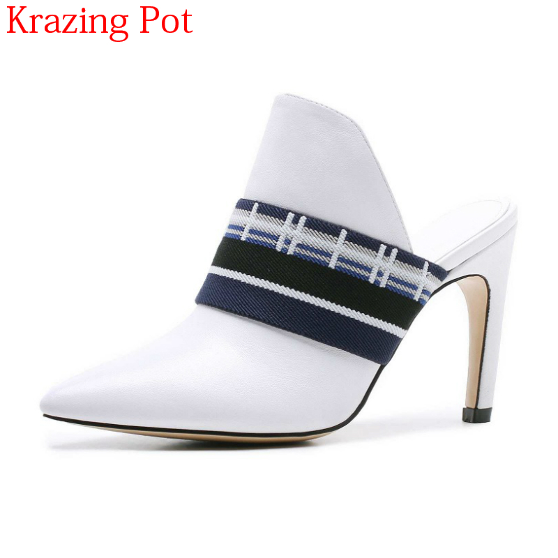 2018 New Arrival Genuine Leather Brand Summer Shoes Pointed Toe Concise Mules Stiletto High Heels Mixed Colors Women Pumps L27 недорго, оригинальная цена