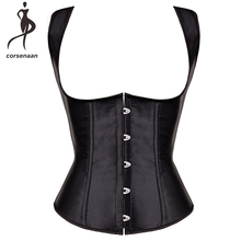 70eb808fd Black Satin Women s Shoulder Straps Waist Cincher Shaper Body Training  Corset Underbust Plus Size With Lacing