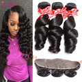 Malaysian Frontal Loose Wave Virgin Hair 3 Bundle Deals Grade 7A Peerless Virgin Hair Cheap Hair Bundles Lace Frontal Closure 1B