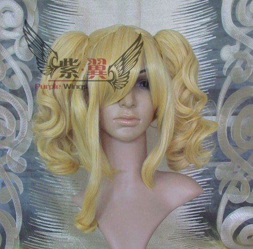 New arrival,1pcs golden curly Cosplay Wig/party wig,main body+2 curly tails+freeshipping