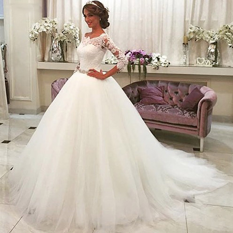 Thinyfull White Lace Appliques Ball Gown Wedding Dresses 2019 Crystal Sash Button Back Gowns robe de mariee trouwjurk