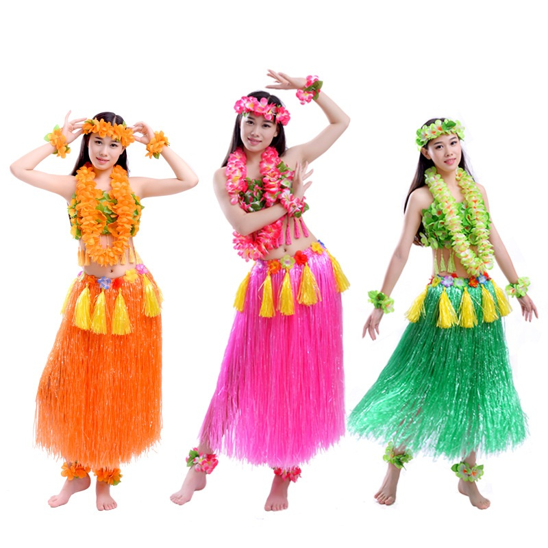 Colgante grueso mujeres adultas faldas de hierba Hula falda hawaiana disfraces Lei diadema Garland Bra Hula vestido falda Hawaii Decoración