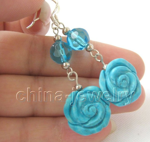 natural turquoise flower  crystal earrings 925 silver