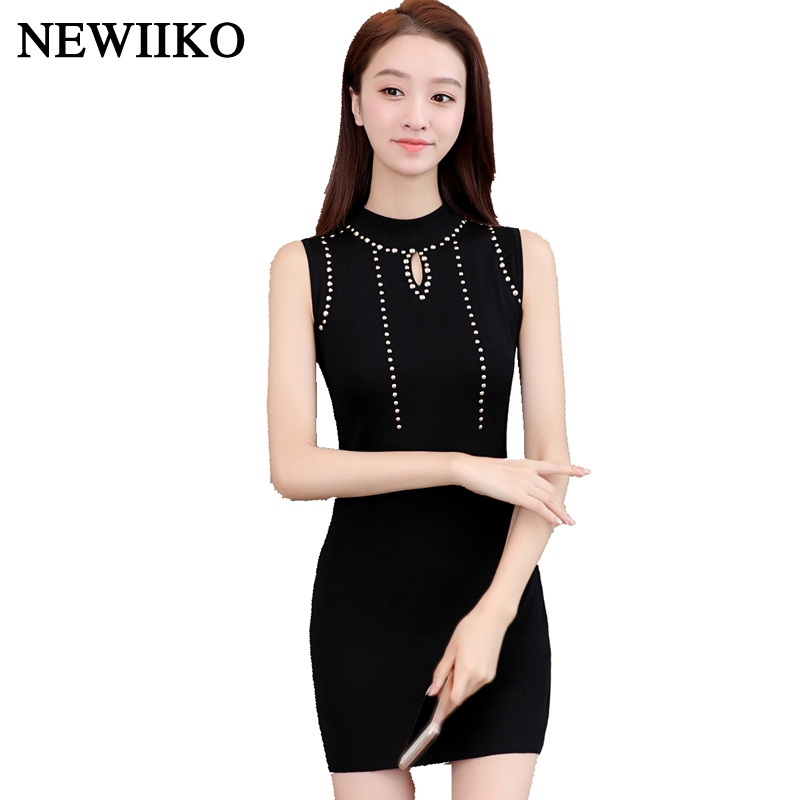Fashion spring Summer women sexy Hollow design Rivet trim solid color O-Neck sleeveless Ladies Knitted Dress mini Sweater dress