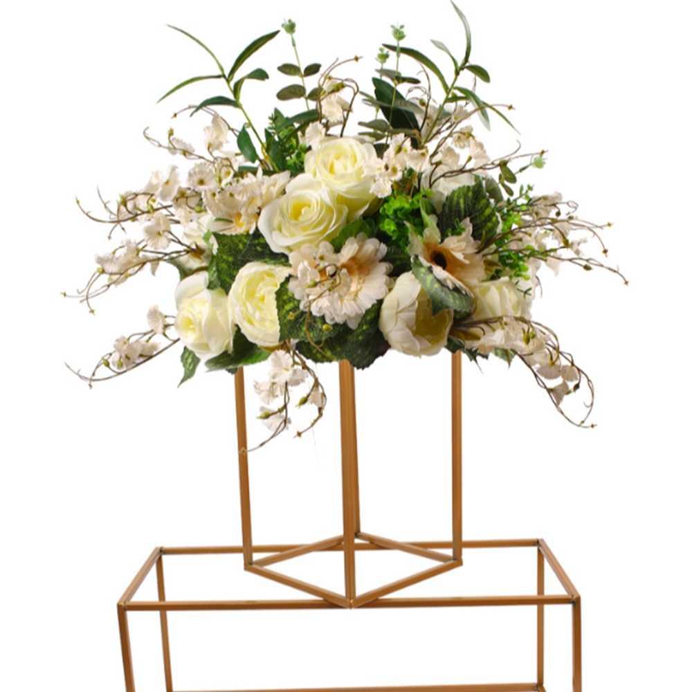 10 個ゴールド花瓶床花瓶列スタンド金属道路のリード結婚式のテーブルのセンターピースの花ラックイベントパーティーの装飾