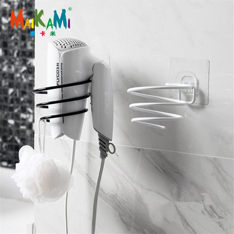 MAIKAMI Iron Finish Wall Mounted Hair Dryer Stand Hotel Bathroom Shelves Shelf Storage Hairdryer Rack Holder Hanger