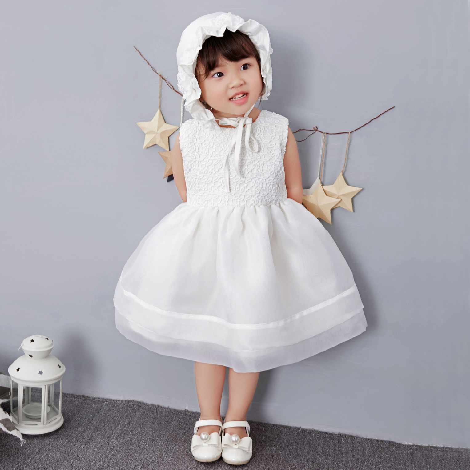 2017 Elegant Baby Girls Dress With Hat Ball Gown Solid Vestido