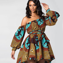 african attire dresses sexy hot slash neck short mini skirt women Party night club dress long sleeve max plus size