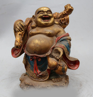 11 Chinese Buddhism Copper Seat Happy Laugh Maitreya Buddha Statue Sculpture