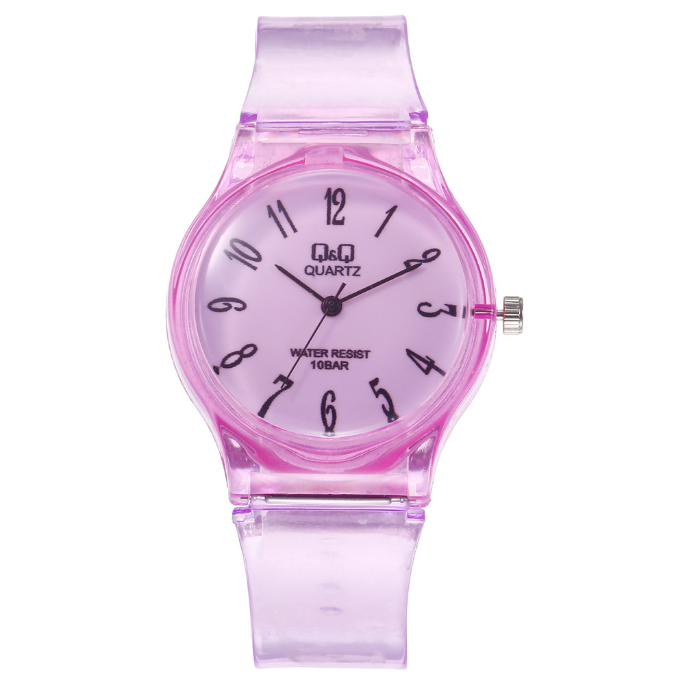 New Women Watches Roman Numeral Dial Ladies Quartz Wristwatch Transparent Jelly Color Silicone Strap Simple Clock Reloj Mujer@50