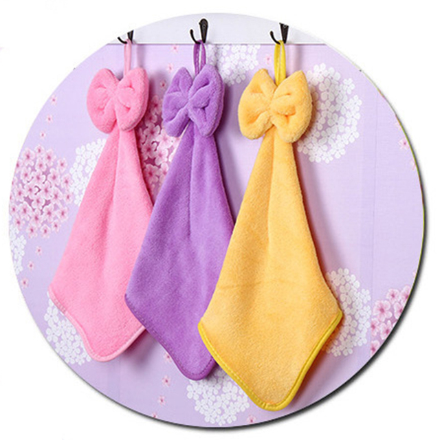 Us 1 71 37 Off Four Colors Bow Knot Coral Velvet Absorbent Hand Towels Hanging Kitchen Towel Cleaning Cloths Convenient Cheap In Cleaning Cloths