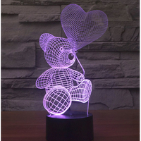 3D LED Night Lights Balloon Bear With 7 Colors Light For Home Decoration Lamp Amazing Visualization