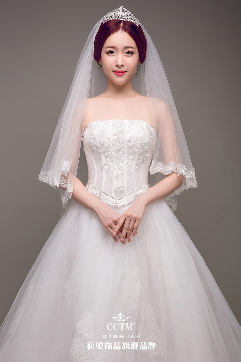 2018 Free To Send White/Ivory/ Two Layers Short Wedding Veils With Comb TS01426