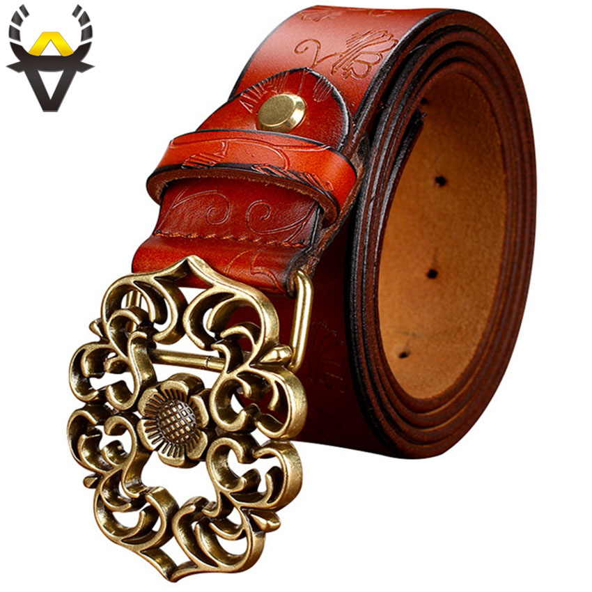 Fashion Genuine Leather Belts For Women Quality Second Layer Cow Skin Woman Belt Vintage Floral Pin Buckle Waist Strap Female