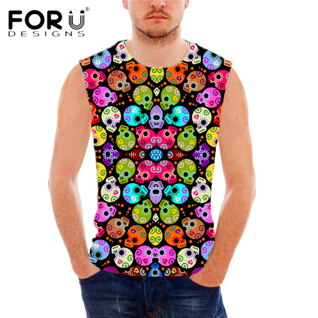 82a8d4d9c38 US $19.99 |FORUDESIGNS Punk Skulls Prints Men Tank Top Brand Designer  Sleeveless Shirt for Man Summer Breathable Cotton Male Tank Tops Tees-in  Tank ...