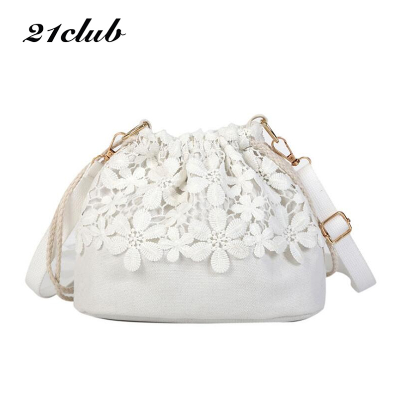 21Club Small Lace Summer Style Canvas Purse Party Shopping Travel Coin Crossbody Shoulder Bags