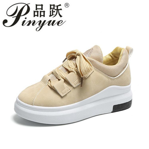 Big Size 35-42 Spring Autumn Genuine Leather Sneakers Women Black Shoes Fashion Lace-up Platform Shoes For Women
