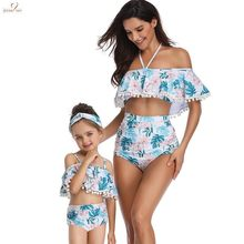 Mother Daughter Kid Stylish Baby Girls pompoms Floral Swimsuit bathsuit Swimwear Kid mom swimsuit outfits for Hawaii Vacation(China)