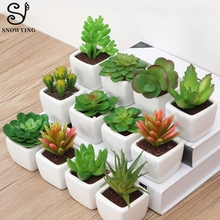 Artificial Succulent Plant Cactus mini Potted Plants Writing Desk Decoration Fake Plastic Plant for Home Decor Send to randomly
