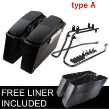 Motorcycle Motorbike ABS Hard Saddlebags and Conversion Brackets For Harley Softail 1986-2013 2012