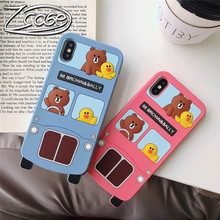 Cute cartoon 3D bear small yellow duck mobile phone case for iPhone X XR XS Max soft silicone 8 7 6 6S Plus Capa