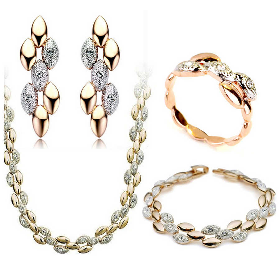 Austrian crystal jewelry luxury jewelry famous brand  gold-color grain jewelry set four-piec set free shipping