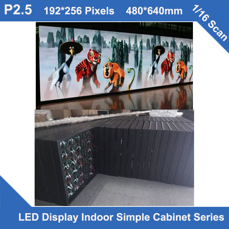 TEEHO P2.5 Indoor Simple Cabinet 480mm*640mm 1/16 1/32 Scan Video Led Screen Fixed Installation Hopital Hotel Wedding Church