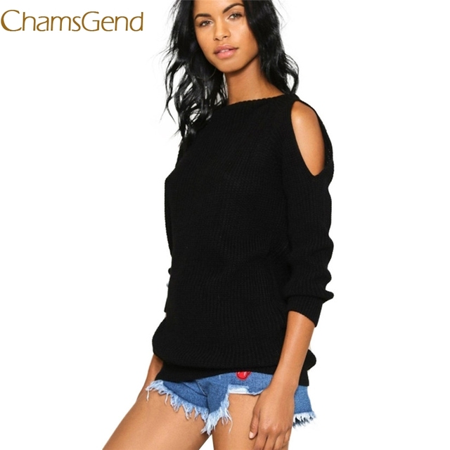 b48974ddc Chamsgend Shoulder Off Casual Camisola Loose Women Knit Pullovers Outono  Inverno Malhas Sólida Femme Moda Outfit