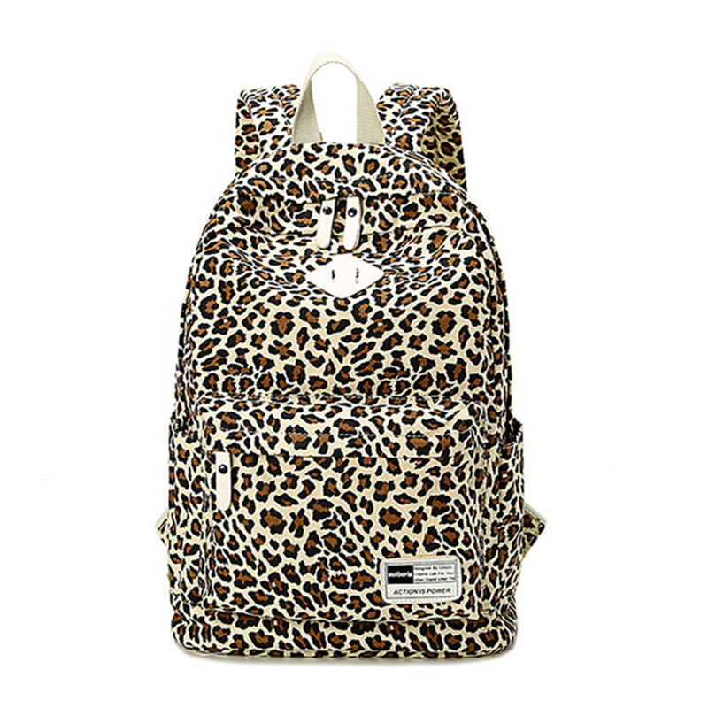 Fashion Leopard Printing Canvas Women Backpacks School Bags For Teenage Girls Laptop Backpack Women Casual Daypack Shoulder Bags