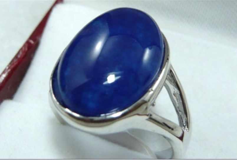 จัดส่งฟรี>>>@@ที่สวยงามสีฟ้าหยกอาเกตสีดำลูกปัด18KGPแหวน(#6,7, 8) #