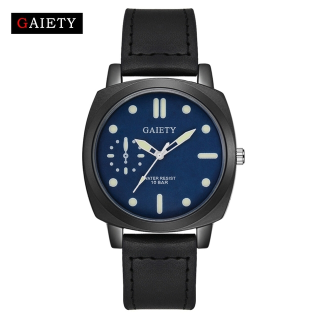 US $3.19 30% OFF| : Buy Men Leather Watch Gaiety Brand Fashion Sport Clock 2017 New Arrival Simple Black Square Dress Man Clock Outdoor