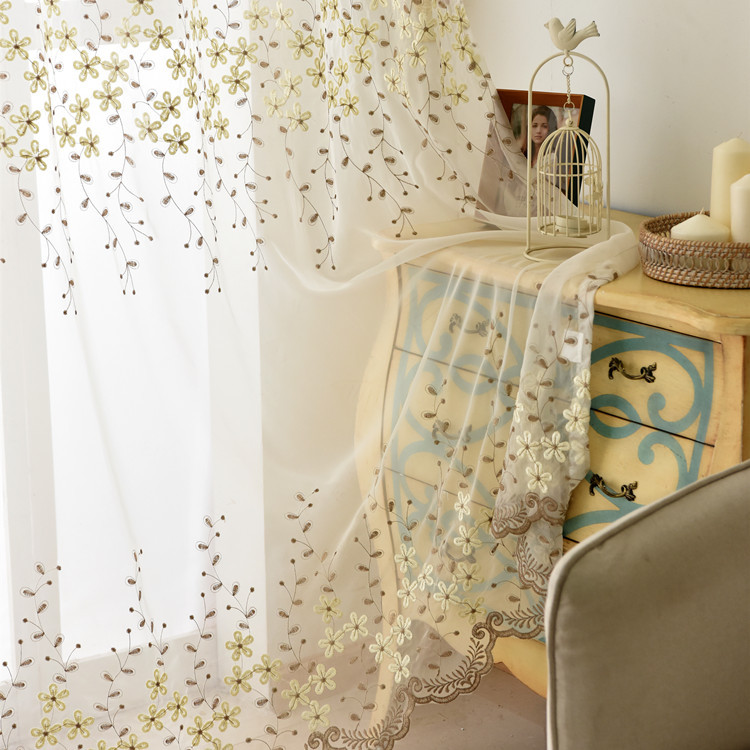 Tulle Curtains Decoration Voile Flower Sheers Bedroom Living-Room Embroidered White Modern