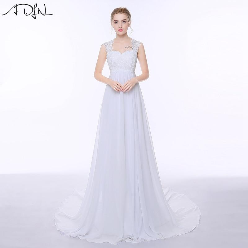 ADLN Elegant Chiffon Beach Bröllopsklänningar Enkelt Empire Sweep Train Open Back Boho Plus Storlek Brudklänning för Gravid kvinna