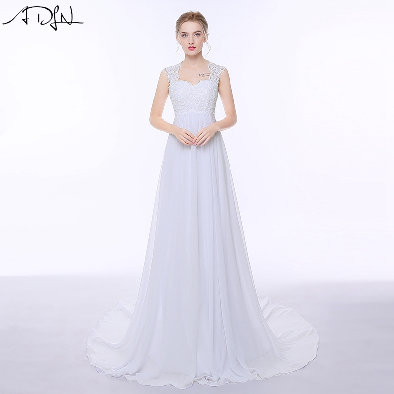 ADLN Κομψή Chiffon Beach Φορέματα Γάμου Απλή αυτοκρατορία Sweep αμαξοστοιχία Ανοίξτε πίσω Boho Plus μέγεθος νυφικό φόρεμα για την έγκυο γυναίκα