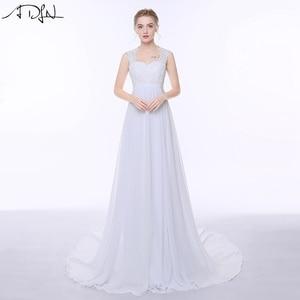 Image 1 - ADLN Elegant Chiffon Beach Wedding Dresses Simple Empire Sweep Train Open Back Boho Plus Size Bridal Gown for Pregnant Woman